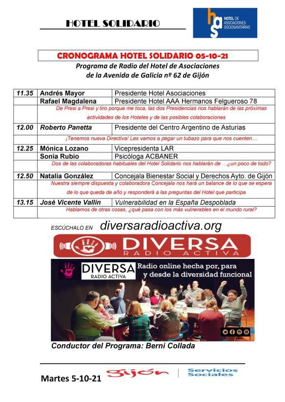 """Programación de """"Hotel Solidario"""" del martes 5 de octubre de 2021"""